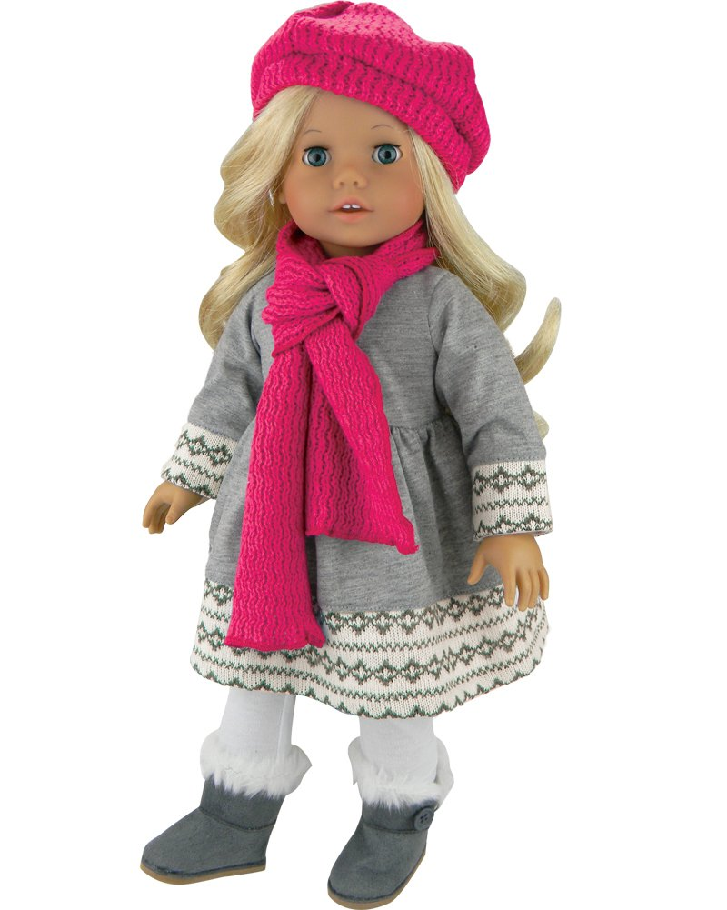 Doll Clothes 4 Pc. Outfit fit for 18 Inch American Girl Dolls & More! Grey Fair Isle Style Doll Sweater Dress, Leggings, Scarf & Doll Pink Hat Sophia's