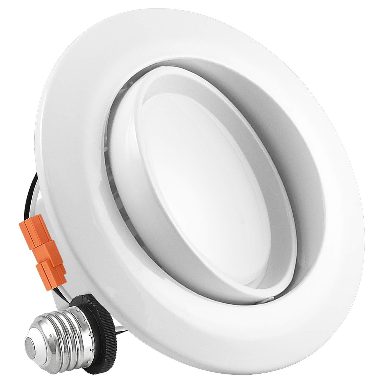 Luxrite 4 Inch Gimbal LED Recessed Light, 10W, 5000K Bright White Dimmable, Directional Ceiling Light, 740 Lumens, Energy Star & ETL Listed, CRI 90, Damp Location - LED Eyeball Recessed Lighting