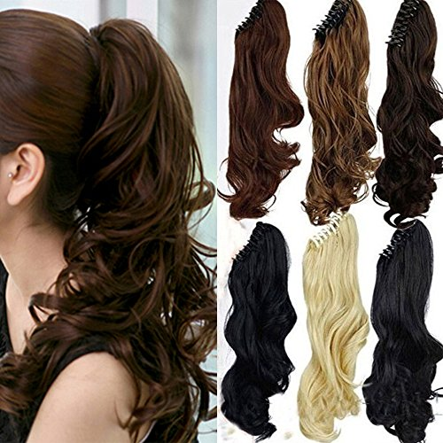 S-noilite Long Thick Claw Jaw Ponytail Big Wave Clip in Pony Tail Hair Extension Extensions (18 inches-curly, dark brown)