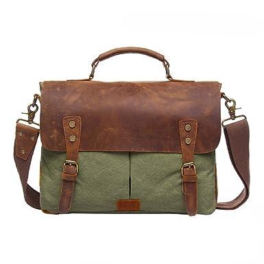 Amazon.com: Messenge Bag, P.KU.VDSL Men's Vintage Genuine Leather ...
