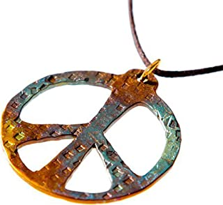 product image for Hand Hammered Bold Peace Symbol Iridescent Pendant Necklace on Adjustable Natural Fiber Cord