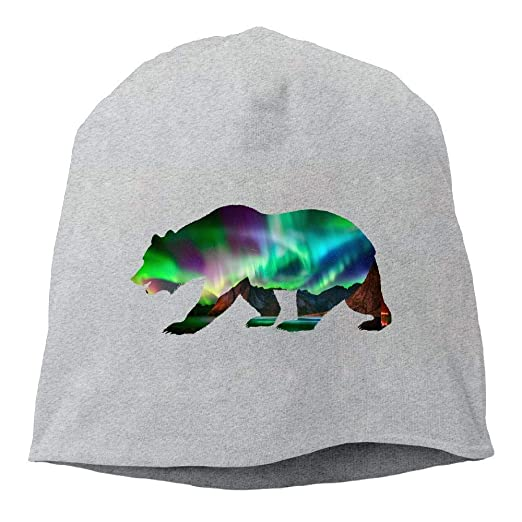 30f928b5caa LXXYZ Beret Knit Cap Bear Northern Lights Beanie Hat Skull Cap Men s at  Amazon Men s Clothing store