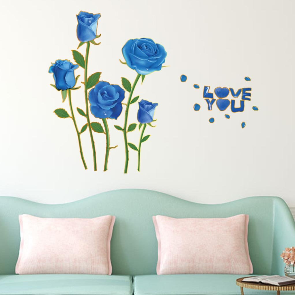 Bibitime Valentines Day Romantic Rose Decal Blue Flower Wall Stickers For Girlfriend Bedroom Wife Couple Bedroom Sayings Love You Vinyl Quotes Buy Online In Cambodia At Cambodia Desertcart Com Productid 47343753