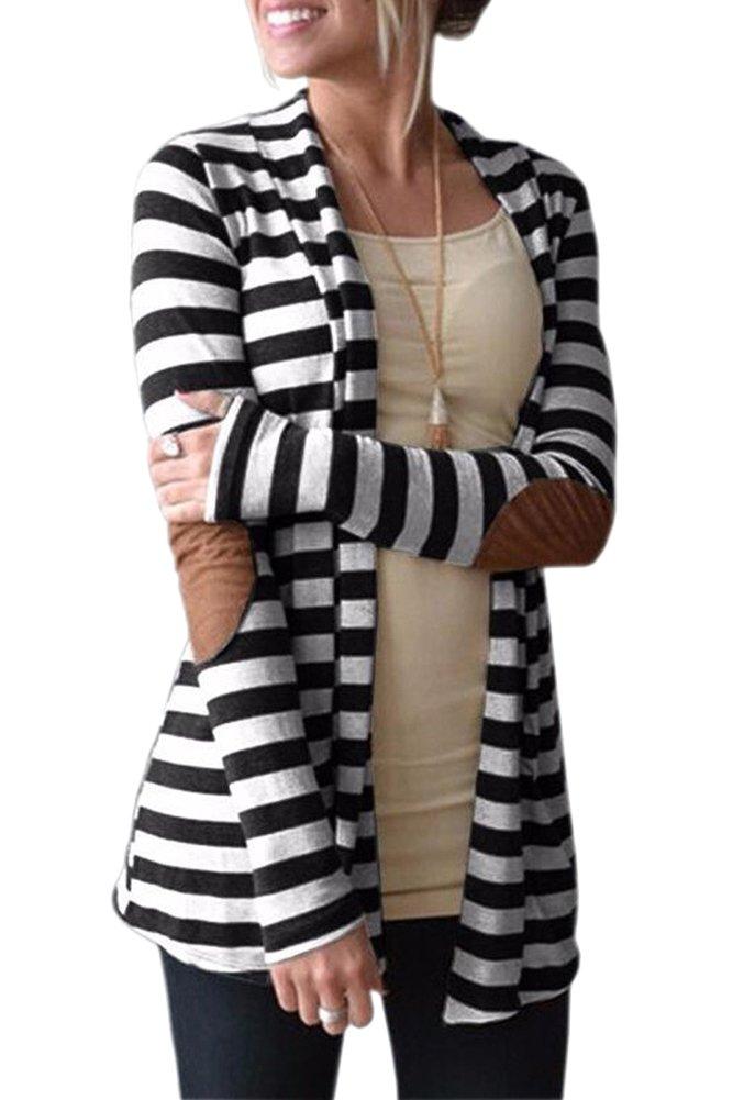 Smibra Womens Cotton Long Sleeve Drap Front Open Stripe Patchwork Cardigan Shirt Top Black Large