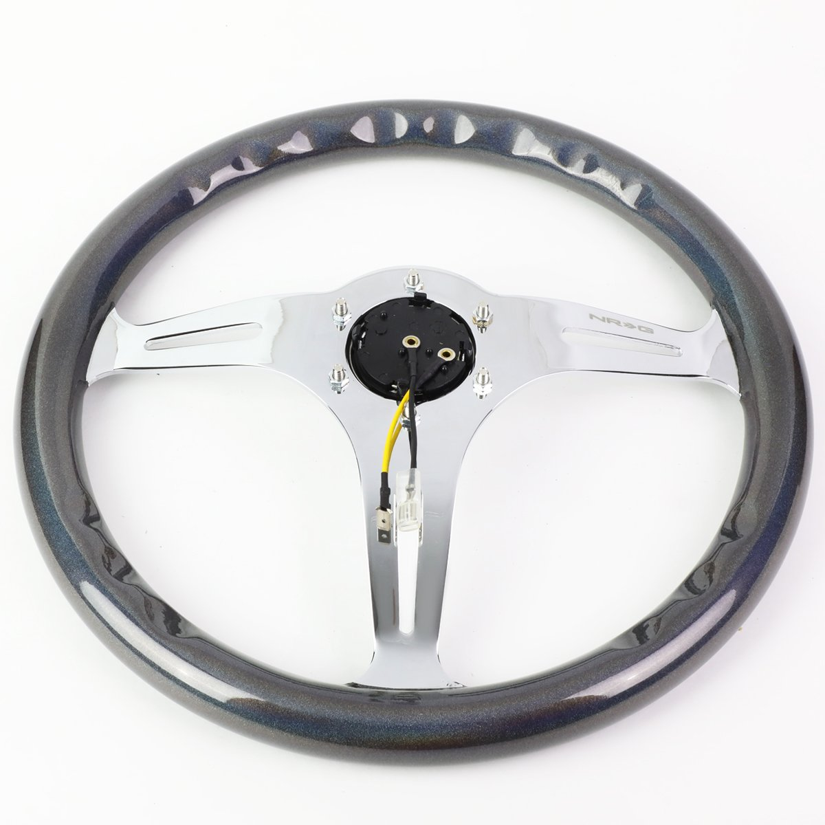 NRG 350mm Chrome /& Chameleon Sparkle 6-Bolt Spoke Aluminum Racing Steering Wheel Horn Button