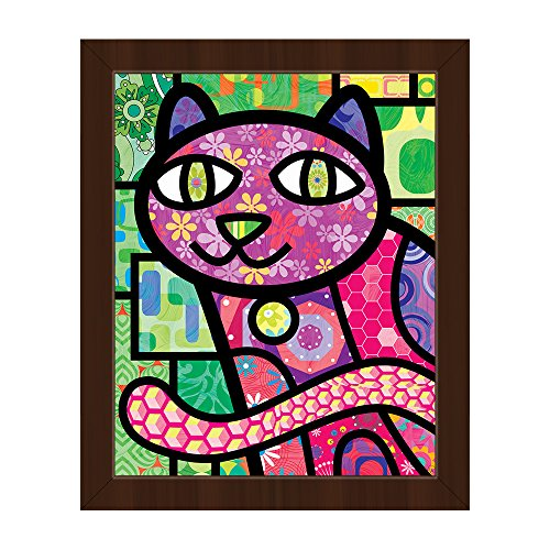 Quilted Purple Kitty On Green: Calico Cat Cartoon Graphic Drawing in Post-Modern Retro Paisley Patterns Wall Art Print on Canvas with Espresso (Cartoon Pattern Canvas)