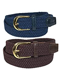 CTM® Women's Elastic Braided Stretch Belt (Pack of 2 Colors), Small