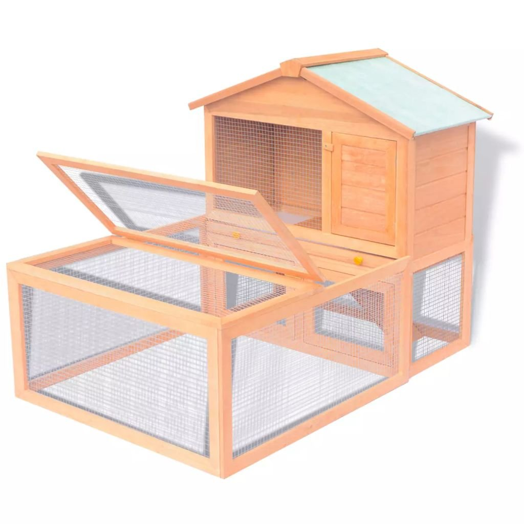 XINGLIEU Animal Rabbit Hutch Cage Outdoor Run Wood Bunny Cage of 2 Layers