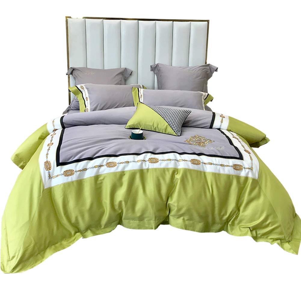 な 綿 寝具カバーセット, 印刷 4 ピース 掛け布団カバー ソフト 快適 クイーンサイズ クラシック 簡単フィット ホテル 生地-a B07T18YQGX