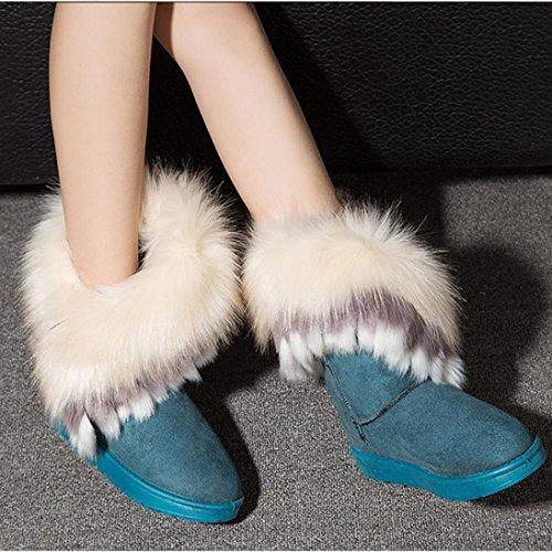 Bottes Dhiver Pour Femmes, Egmy Plat Cheville Bottes De Neige Bottes De Fourrure Hiver Chaud Chaussures De Neige Vert