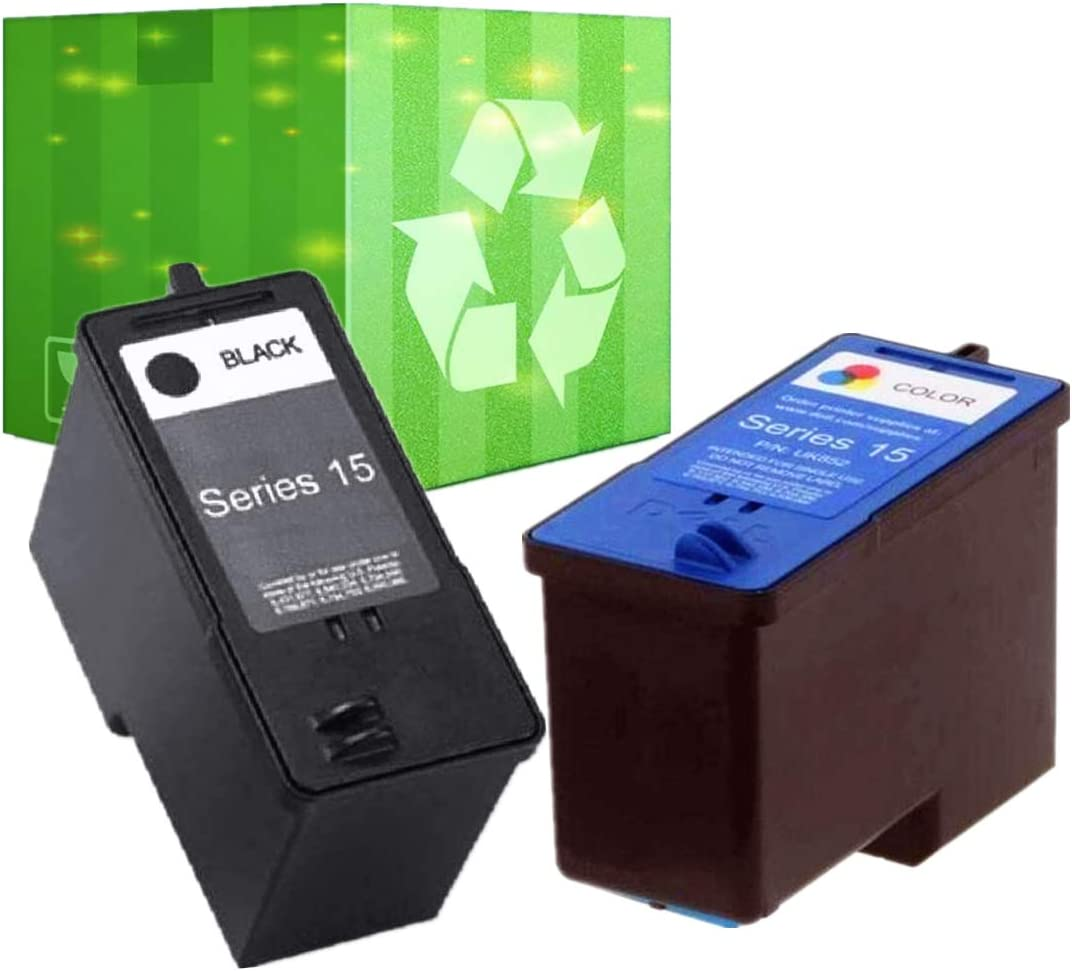 J2INK Remanufactured Ink Cartridge Replacement for Dell Series 15 Dell Computer WP322 UK852 15 Standard Capacity Combo Pack for Dell Printer V105