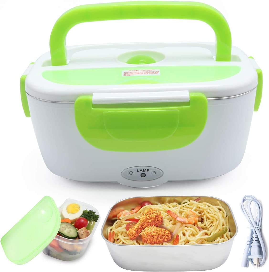 XDeal Electric Warming Lunch Box Food Heater 1.5L 110V Home-Use Plug In Lunch Warmer Portable Bento Box Lunch Heater With Removable 304 Stainless Steel Container Food Grade Material(Green)