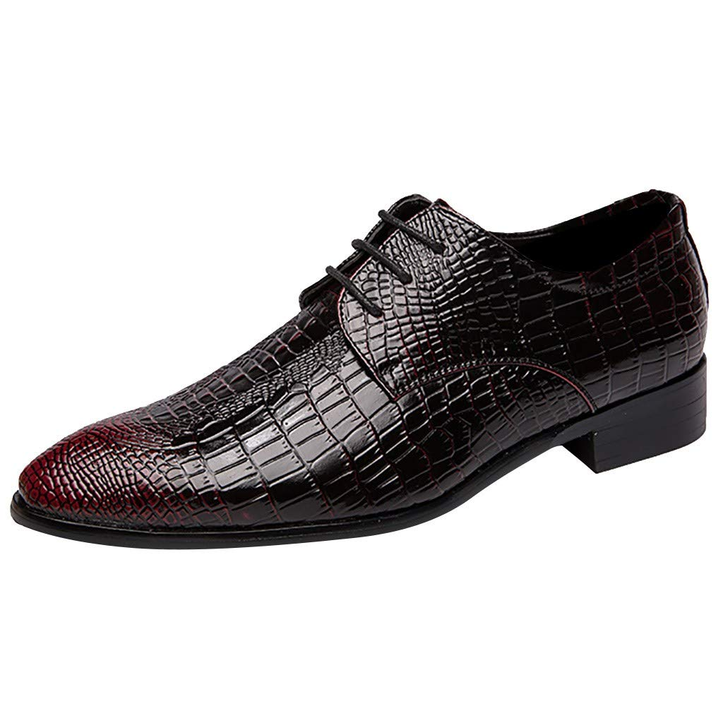 Men's Leather Oxford Dress Shoes Flats Male Lace Up Suit Shoes Party Shoes Red