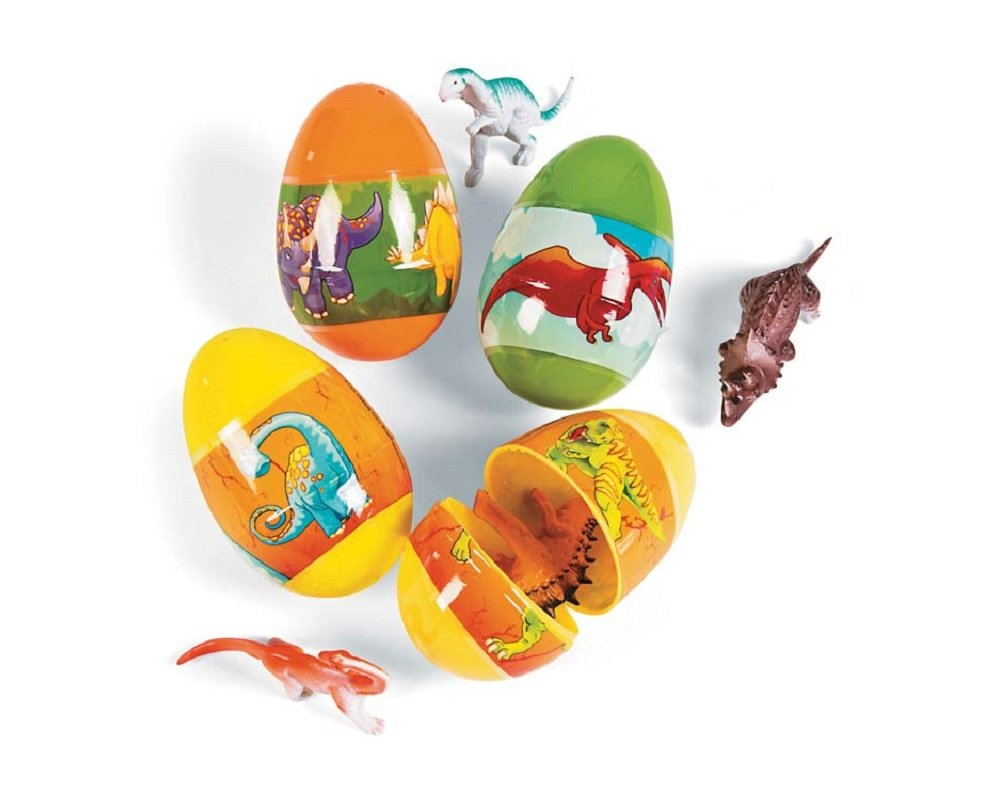 12 Dinosaur Filled Two Part Plastic Easter Eggs for Egg Hunts Crafty Capers