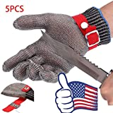 Safety Cut Proof Stab Resistant Butcher Stainless Steel Metal Mesh Gloves X5Pcs
