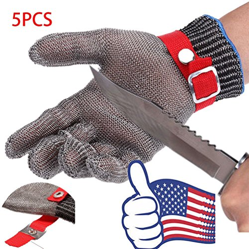 Safety Cut Proof Stab Resistant Butcher Stainless Steel Metal Mesh Gloves X5Pcs by Radkell home series