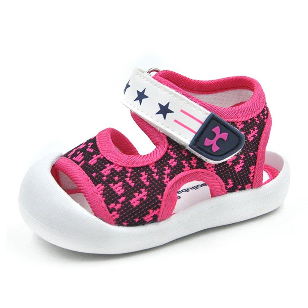 QGAKAGO Toddler Baby Boys or Girls Breathable Mesh Running Sneakers Summer Sandals (3.5 M US Toddler, Rose Red)