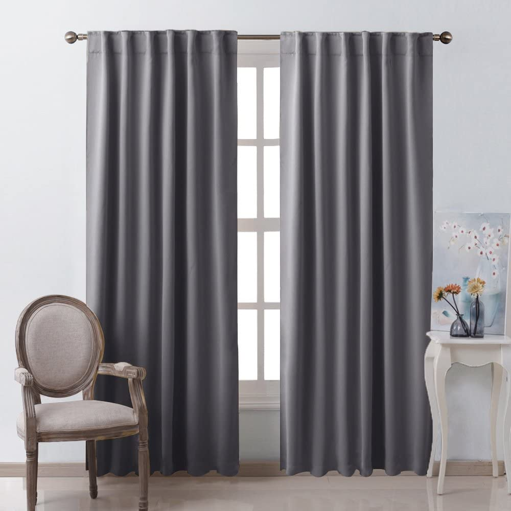 Amazon Com Nicetown Bedroom Curtains Blackout Curtain Panels Gray Color 52x95 Inch 2 Pcs Insulating Energy Saving Solid Rod Pocket Blackout Drapes Home Kitchen
