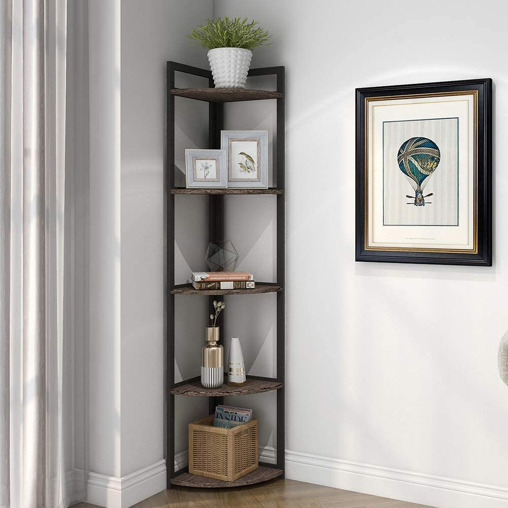 Superjare Corner Shelf, Industrial 5 Tier Wood Wall Corner Bookshelf with Metal Frame, Corner Storage Rack Shelves Display Plant Flower, Stand Bookcase for Home, Office, Kitchen - Vintage Brown