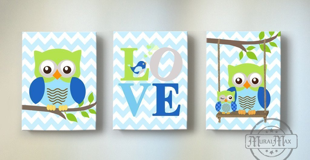 MuralMax - Love - Inspirational Quote - The Owl Family Collection - Chevron Canvas Art - Set of 3 - Size - 8 x 10 by MuralMax (Image #1)
