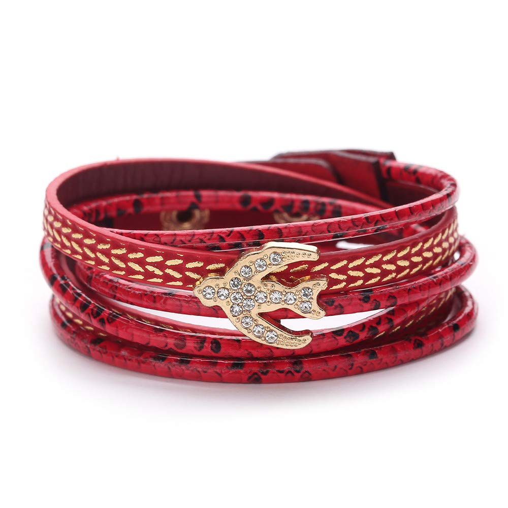 Women Inspirational Soaring Bird Rhinestone Multi-Layer Wrap Cord Charm Bracelets Gift for Girls Mens Teens Student Best Friend Forever(F)
