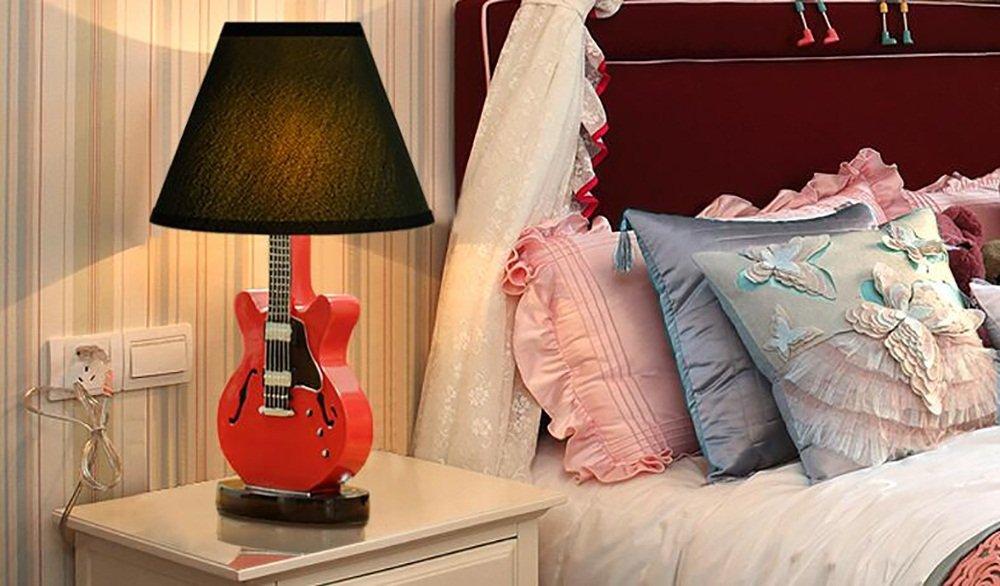 Creative Light- Sala de la guitarra de la historieta de creativos los niños creativos de modernos minimalistas americanos europeos dormitorio lámpara de cabecera Pequeño decorativo Lámpara de mesa ( Color : Rojo ) 0c5d64