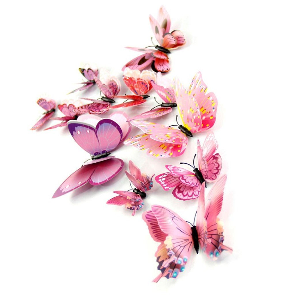 12Pcs 3D Butterfly Magnet Wall Stickers Vovotrade® Thanksgiving Christmas (Pink) by Vovotrade (Image #4)