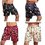SexyTown Mens Classic Satin Boxers Shorts Summer Lounge Underwear Beach Shorts (Large, Pack-4),Large(Waist 33''-35'')