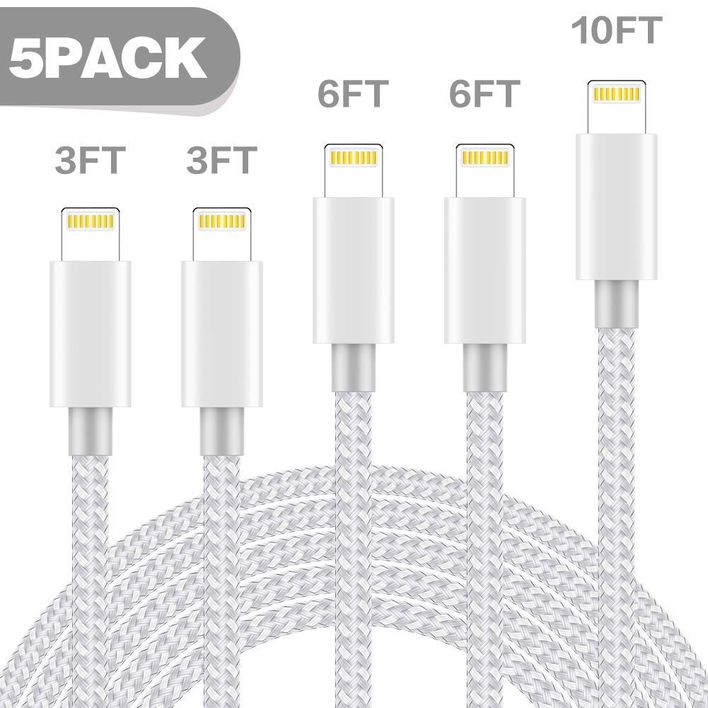 TNSO MFi Certified Phone Cable 5 Pack [3/3/6/6/10FT] Extra Long Nylon Braided USB Charging & Syncing Cord Compatible Phone Charger Xs/Max/XR/X/8/8Plus/7/7Plus/6S/6S Plus/SE/iPad/Nan More