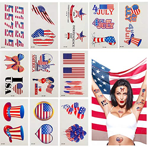 Chinco 128 Pieces July 4th Tattoos USA Temporary Tattoos Patriotic Temporary Tattoos for Independence Day Parties, 44 -