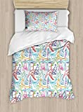 Ambesonne Yoga Duvet Cover Set Twin Size, Doodle Style Woman Silhouettes with Meditation Poses Stretching Flexing Relaxation, Decorative 2 Piece Bedding Set with 1 Pillow Sham, Multicolor