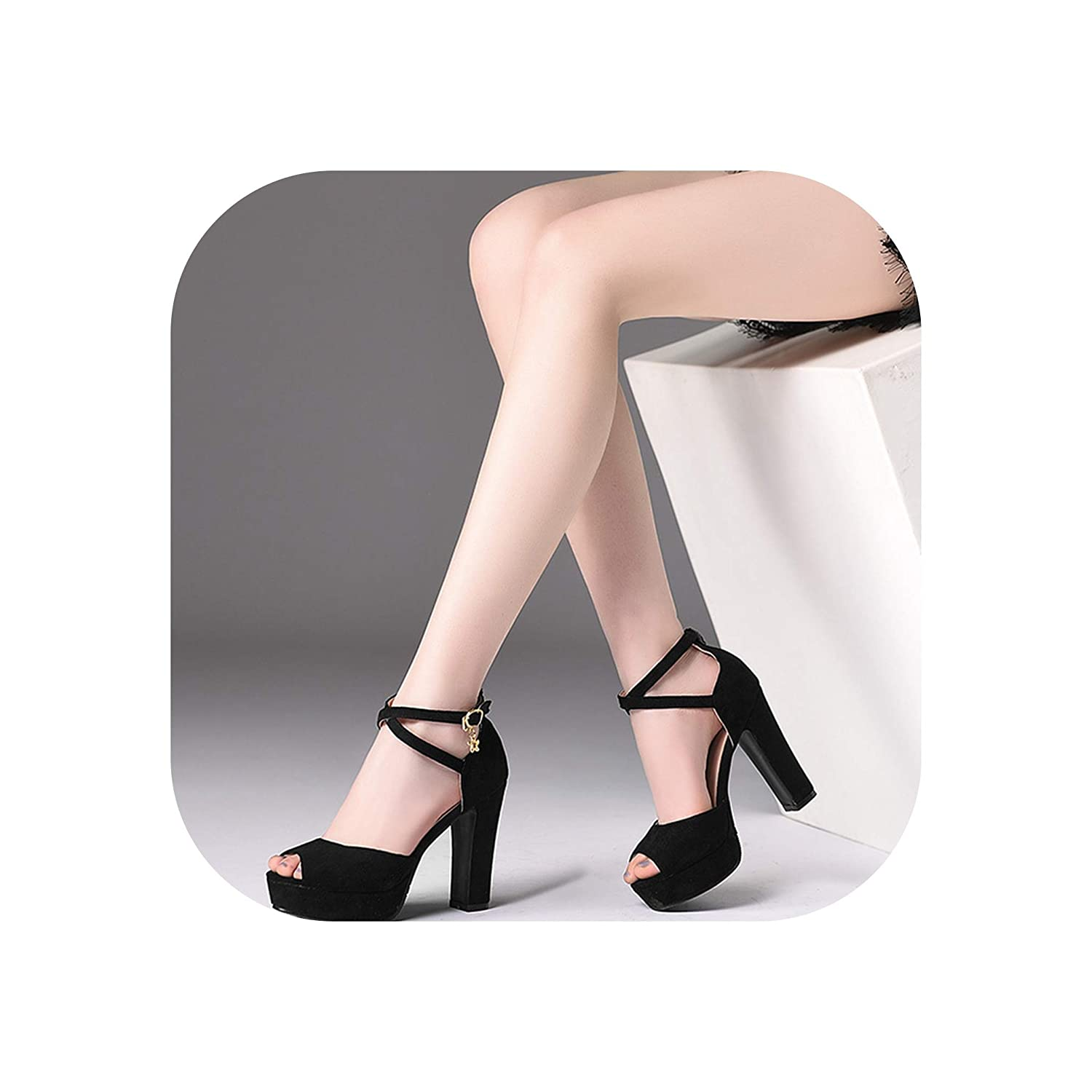 Black Woman Buckle Strap shoes Thick High Heels Peep Toe Dress shoes Party shoes Sandals