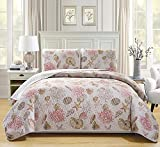 Fancy Collection 3pc Full/Queen Quilted Coverlet Bedspread Set Seashells Beige Pink Reversible New