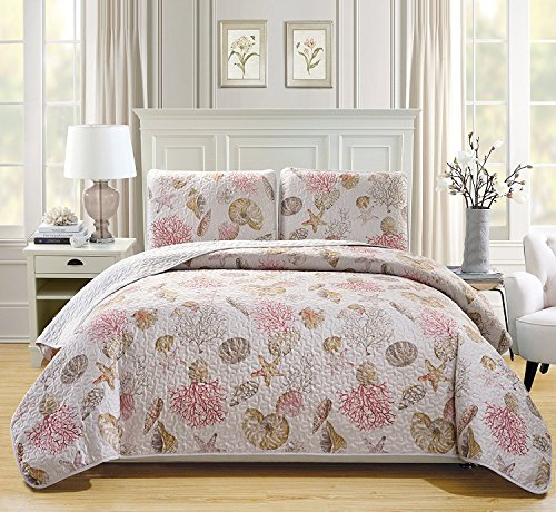 Fancy Collection 3pc Full/Queen Quilted Coverlet Bedspread Set Seashells Beige Pink Reversible New by Fancy Linen