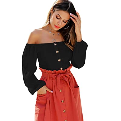 WDIRARA Women's Casual Off The Shoulder Button Front Solid Long Sleeve Blouses at Women's Clothing store