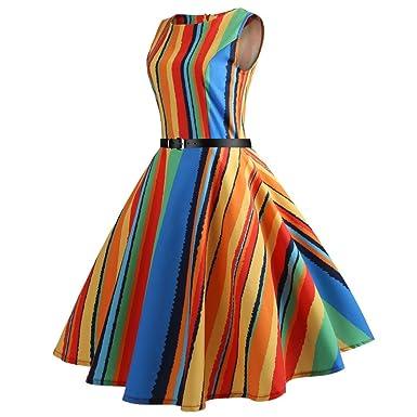 6210d48efd2bf1 Élégant Robe, ADESHOP Femmes Vintage Hepburn Impression Par Bande Coloré  Taille Serré Grande Robe BalançOire Femmes Chic Col Rond Bodycon ...