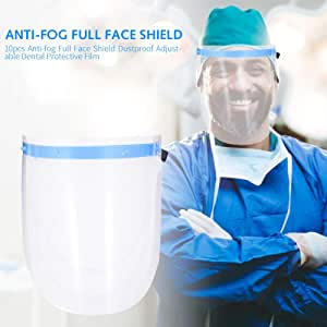 Adjustable Full Face Shield with 10 Replaceable Plastic Protective Film, Anti Fog Anti Saliva Face Shield Suitable for Adult and Children