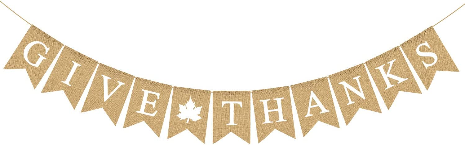 Rainlemon Give Thanks Burlap Garland Bunting Banner Happy Thanksgiving Day Party Home Decoration
