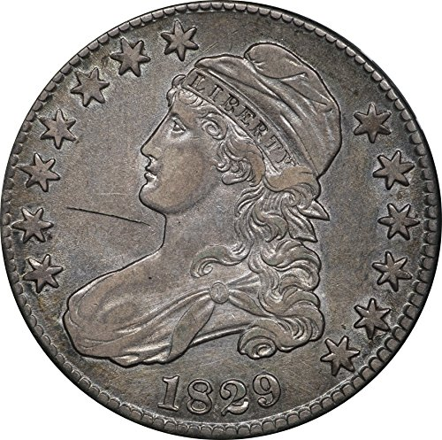 1829 Capped Bust Half Dollar, Scratched, AU 50C About Uncirculated