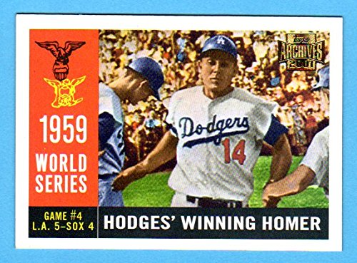 Los Angeles Dodgers 1959 Topps World Series Reprint (Game 4 *Hodges Winning Homer*) *w/ Original Back* (From 2001 Topps Archives)