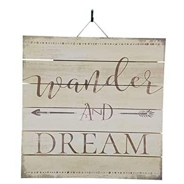 Imprints Plus Wander and Dream Inspirational Distressed Wood Sign, 12  x 12  Rustic Home Decor Plaque with Hanger Bundle 48-01641