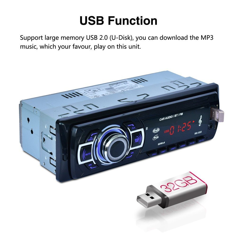 POMILE Car Stereo Audio Receiver Bluetooth, Car Radio MP3 Player Single Din In-Dash USB/SD/FM/AUX/MMC with Remote Control 12V, (No CD/DVD) by POMILE (Image #5)