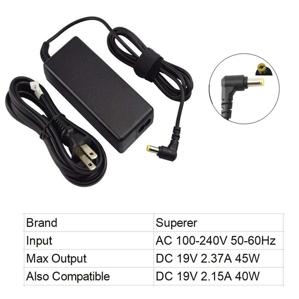 Superer 45W AC Charger Compatible Acer Aspire 1 A114-31 A114-32 Laptop Adapter Power Supply Extra 5Ft Cord by Superer (Image #3)