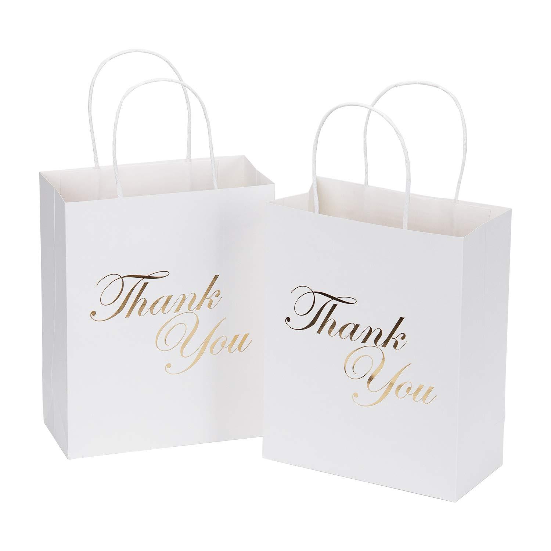 LaRibbons Medium Size Gift Bags - Gold Foil Thank