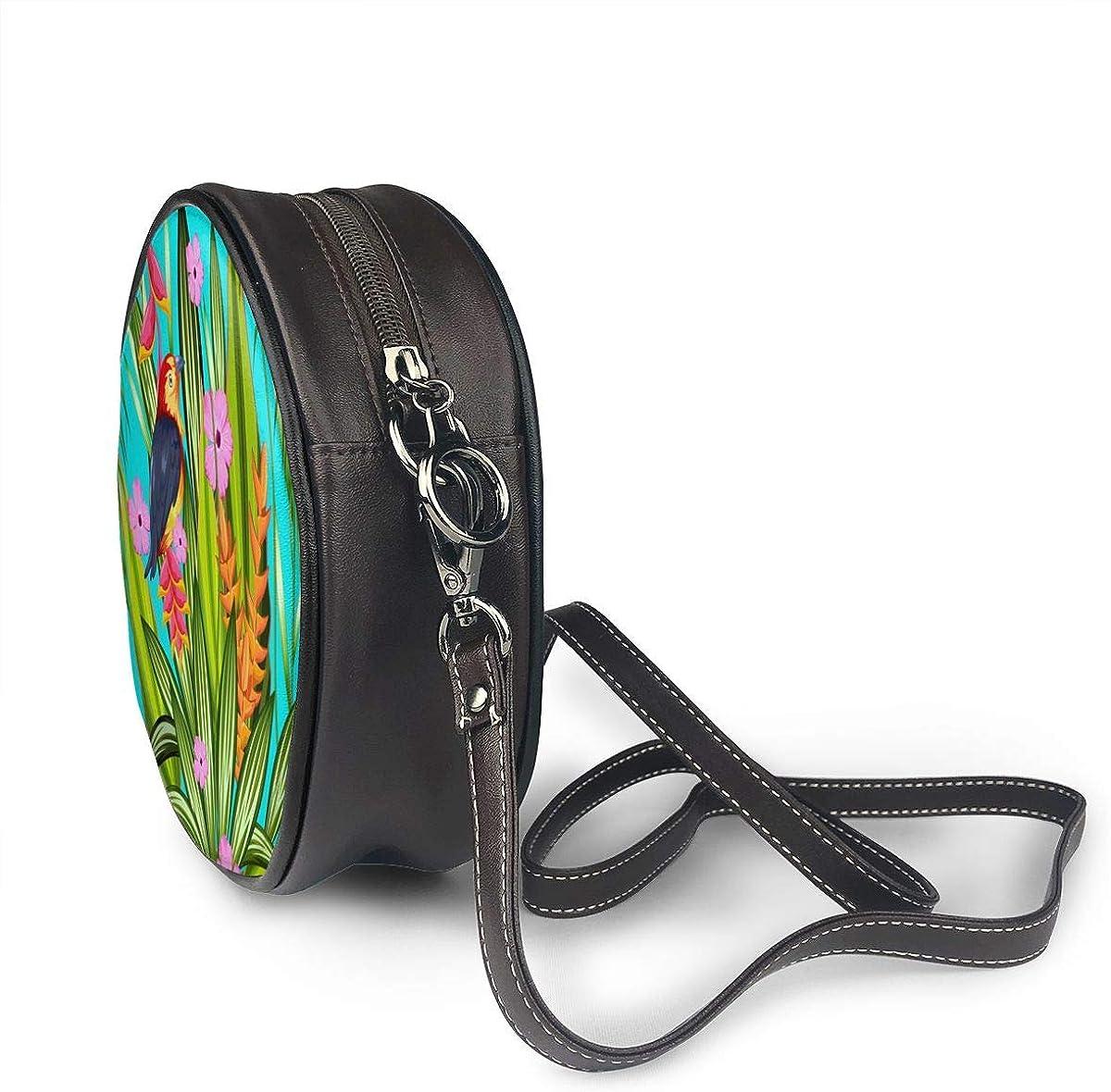 Tropical Palm Bird Flower Round Leather Shoulder Bag Fashion Lady Crossbody Wallet Adjustable Top Handbag For Women Girl