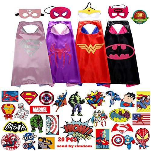 Superhero capes Dress Up Costumes For Girls - 4 Capes + 4 Masks + 25 superhero sticker (Super Hero Dress Up)