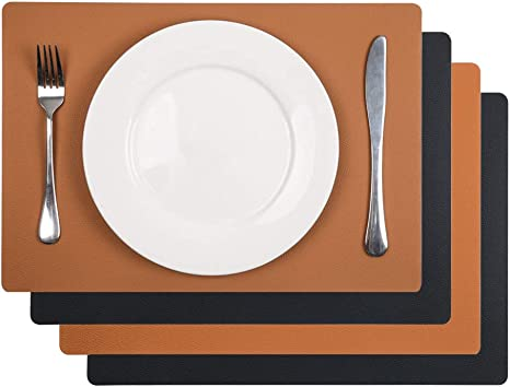 Amazon Com U Artlines 4pcs Faux Leather Placemats Pu Waterproof Reversible Place Mat Heat Resistant Non Slip Washable For Kitchen Dining Table Black Brown Set Of 4 Home Kitchen