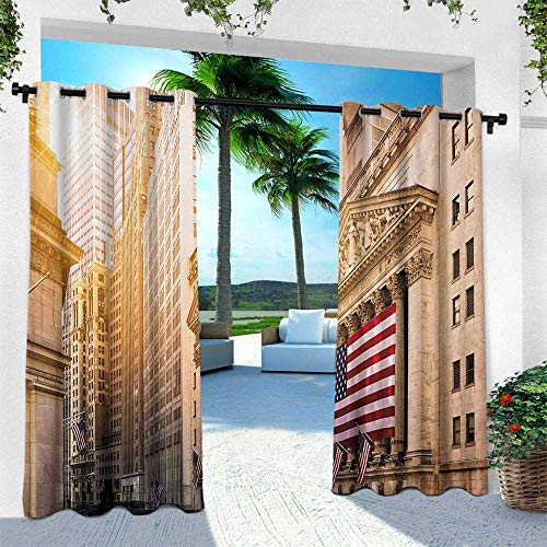 Hengshu United States, Balcony Curtains,Famous Wall Street Building New York Stock Exchange with Flags Urban, W108 x L108 Inch, Sand Brown Navy Red