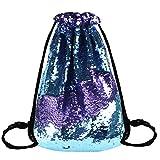 Reversible Sequins Drawstring Mermaid GlitterShoulderbag Backpack(Blue Purple)