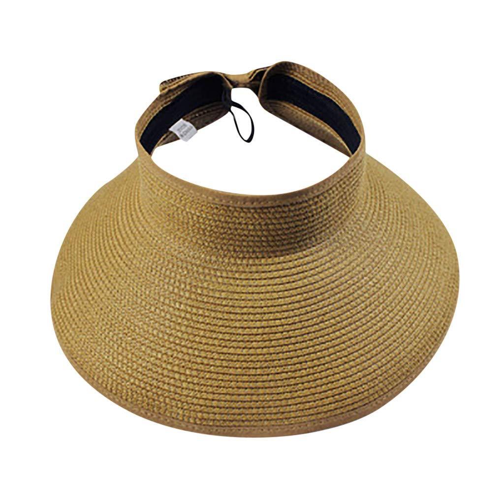 Unisex Sun Hat Straw Big Brim Visor UV Protection Cap Foldable Outdoors Sports Hat Breathable Adjustable Bowtie Cap (Khaki)